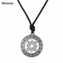Minimal Ancient Ethnic Viking Pendant Necklace Double Circle Square Star Knot Pagan Religious Amulet Wicca Jewelry Accessories(China)