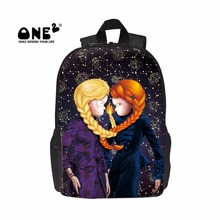ONE2 2017 New Design kid backpacks printing about Gemini of Twelve Constellations lovely twins schoolbags for kids and children