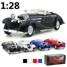 Supercar Deals Antique Classic Car 1:28 scale alloy pull back model car, Retro Diecast cars toy,Children's gift,free shipping(China)
