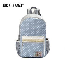 QICAI.YANZI Dot Laptop Backpacks for Teenager Girls School Canvas Lace Bagpack Mochila College Student Travel Shoulder Bags Z802(China)