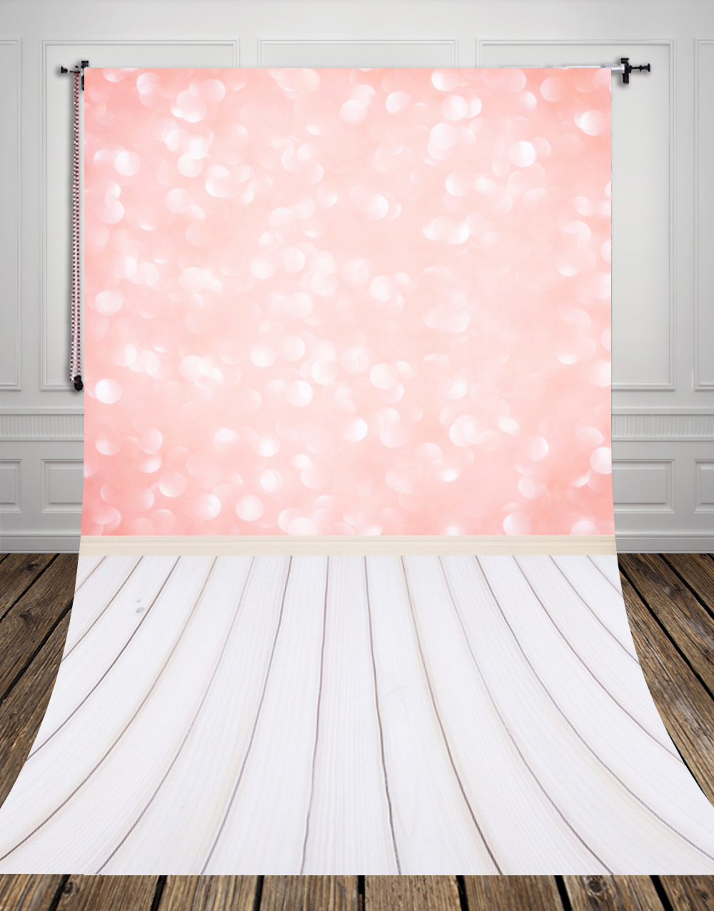 5x8ft(1.5x2.5m) pink wallpaper with wood floor photo studio background backdrop made of  Art fabric for photography D-9689<br>