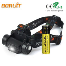 BORUIT 1Mode Rechargeable Motion Sensor LED Headlamp Flashlight Head Torch Light 18650 Battery Camping Fishing Hunting Headlight