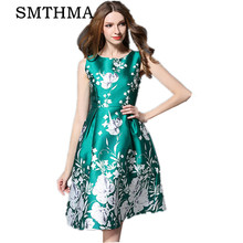 New Europe 2017 Summer Runway Women's Fashion Sleeveless printing Long Dresses Ladies Casual Clothing Women Sexy Slim Party Dres