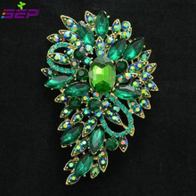 Rhinestone Crystals Leaves Flower Brooch Pin Broach Wedding Party Jewelry Bag Shoes Accessories 9 Colors 4080(China)
