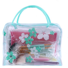 1PC New Waterproof  Women Girls Portable Clear PVC Flower Makeup Toiletry Travel Wash Cosmetic Bag Pouch Oragnizer Holders Tools