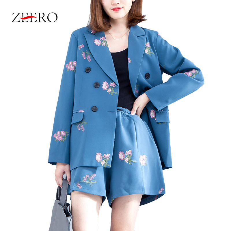 2019 Women 2 Piece Pant Suits Blue Embroidery Floral Blazers Coat + Elastic Waistline Short Pant Suits OL Blazer Set Plus Size