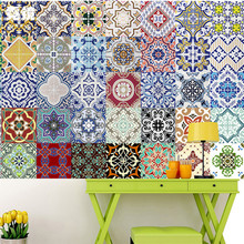 1PCS 20x20cm PP Mediterranean Style Self Adhesive Tile Art Wall Decal Sticker Diy Kitchen Bathroom Home Decor GPD8281(China)