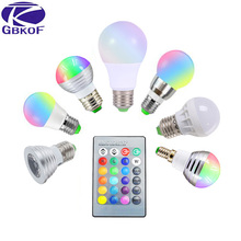 3W 5W 7W 10W RGB LED Bulb E27 E14 GU10 AC 110V 220V LED lamp with IR Remote Control Dimmer Holiday Decor Colorful Night lighting