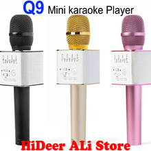 Original Mini Q9 Karaoke Microphone Bluetooth Speaker Lapel Wireless With Mic KTV Super bass Portable Condenser for Android IOS