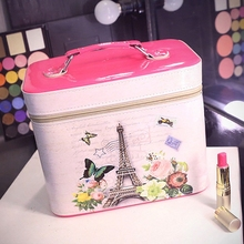 Brand PU Leather Cosmetics Bag Large Capacity Landscape Pattern Storage Box Make-up Makeup Women Ladies Cosmetic Vanity Case