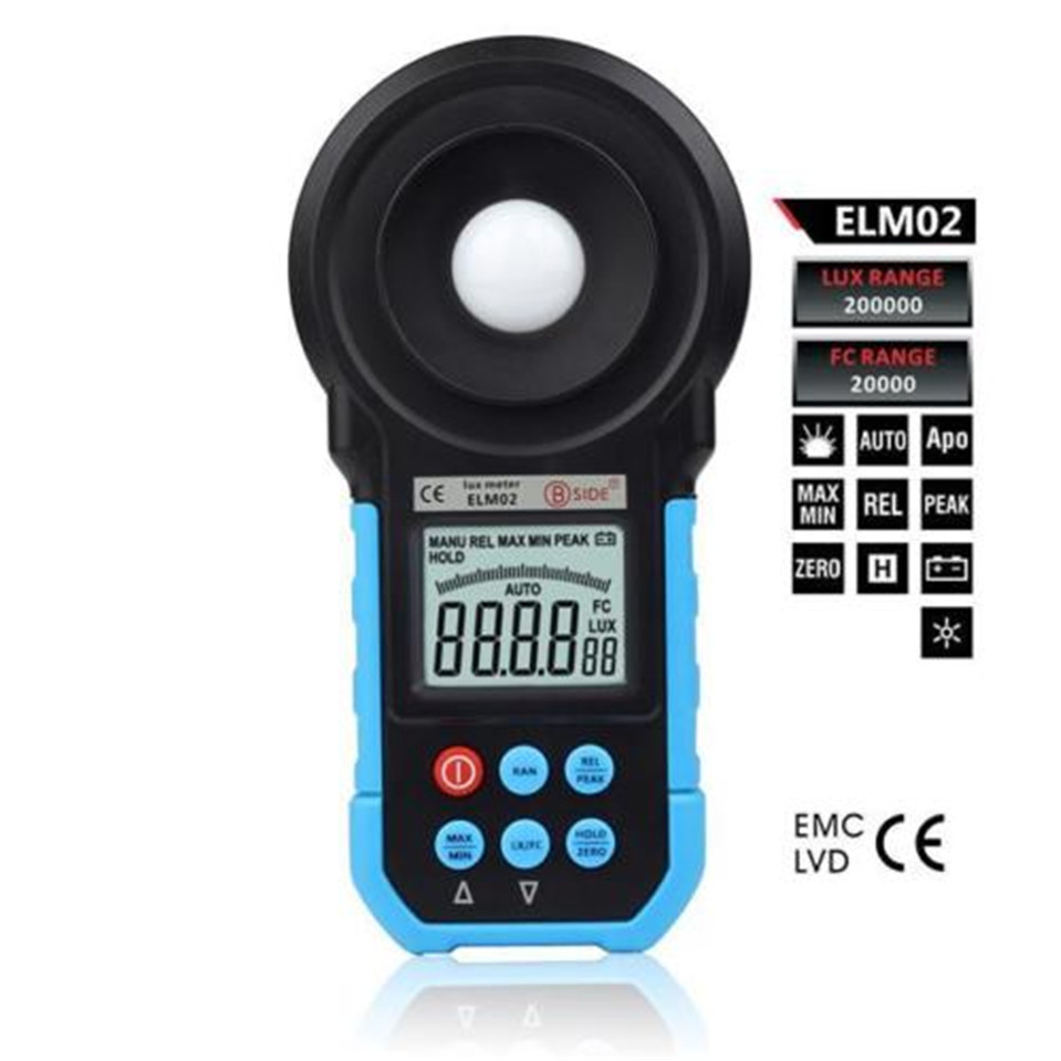 ELM02 200,000 Lux Digital Meter Light Luxmeter Meters Luminometer Photometer Lux/FC<br>