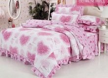2016 Bedding Set Queen Pink 4pc Princess Romantic Country Style Comforter Bedding Sets Queen Size Floral Printing Free Shipping