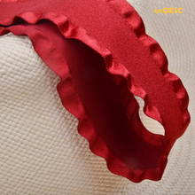 Red Frill ribbon suede loop fabric lace fabric for fascinator hair accessory dress hat bag clothes.