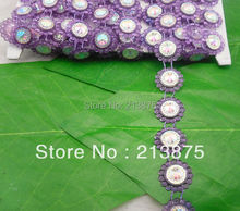 Free shipping 10Yards Purple Plastic chain Costume Applique circular AB Resin Crystal Rhinestones Banding Trim Setting