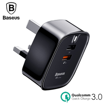 Baseus QC 3.0 Quick Charger For iPhone iPad Mobile Phone Double USB Charger UK Charger Plug Adapter Portable Travel Wall Charger(China)