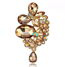 Cheap Shampagne Glass Large Rhinestone Brooch Pins Fashionable Jewelry Christmas Brooches Bouquet For Women Friendship Gift(China)