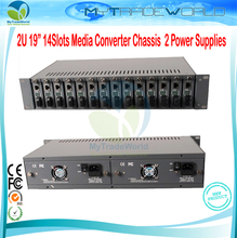 "Best Quality 2U 14 Slots 19"" Rack Mount Chassis Dual Power Supply Optical Fiber Media Converter Chassis upto 14 Slots(China)"