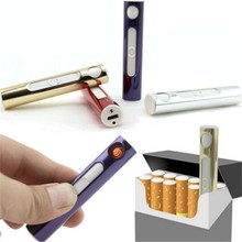 USB Lighter Electronic Rechargeable Tobacco Cigarette Lighter Flameless Cigar windproof gold metal pipe torch lighter