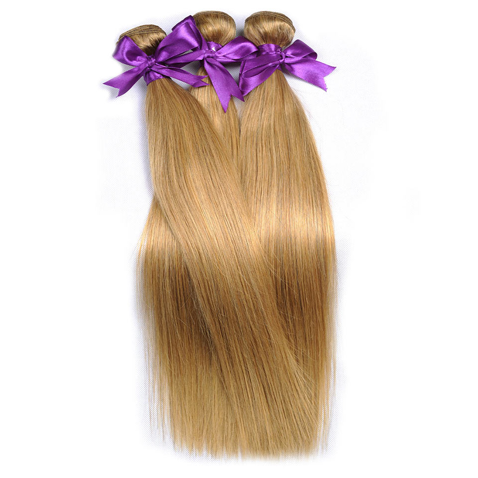 Blonde Bundles Straight Peruvian 100% Human Hair Extensions Honey Color 27 Blonde Hair Weave Shining Star Non Remy Hair Weft 1Pc