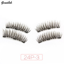 Genailish 3 Magnets eyelashes 3D/6D magnetic lashes handmade false eyelashes cilios comfortable natural-24P-3(China)