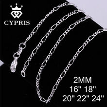 "C013 16""18""20""22""24"" 2mm silver Figaro Chain Necklace For Man and women Unisex Wholesale wholesale bulk lot pack WHOLESALE"