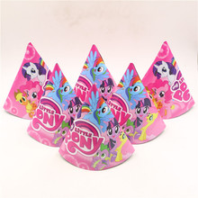 Kid Birthday Party/Festival Decoration Party Event Children's Favors Supplies 6pc/lot My Little Pony Cartoon Theme Paper Cap/hat(China)