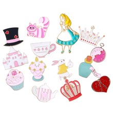 1 Piece Cartoon Cute Anime Alice In Wonderland Series Badge Corsage Brooch Collar Pins Jewelry #231445
