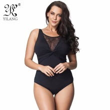 Brand Swimwear Women 2016 One Piece Black Sexy Lace Hollow Out Swimsuit One Piece Thong Push Up Swimwear Plus Size 6XL Monokini(China)
