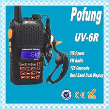 DHL freeshipping+New radio walkie talkie Pofung UV6R vhf uhf transceiver,compared alan midland free earpiece for baofeng uv5r