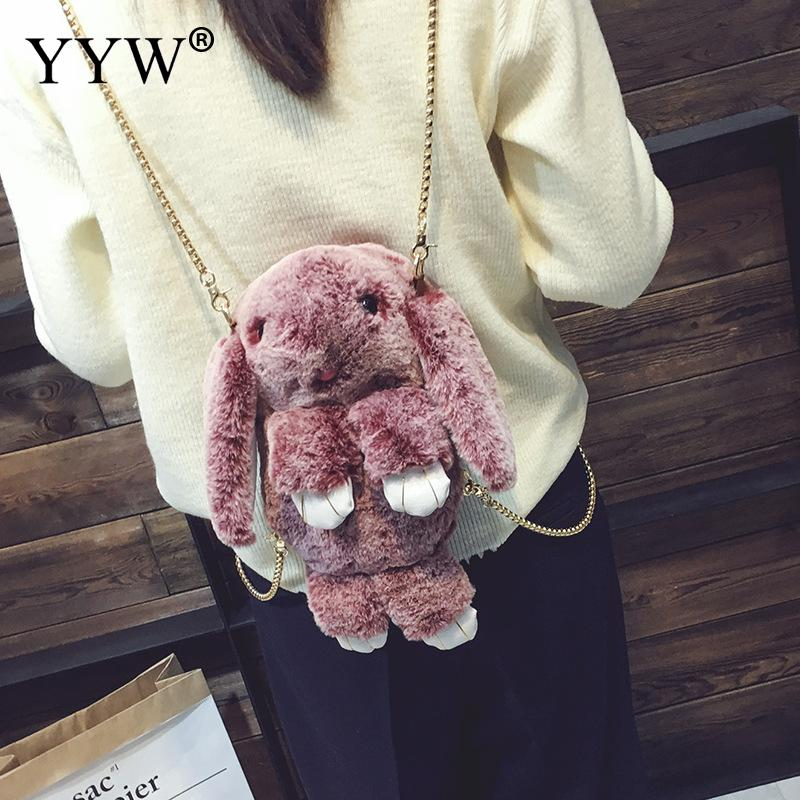 Casual Backpack Female Fake Fur Backpacks for Adolescent Girls Zipper Chains Ladys Rabbit Bag Black Mini Backpack<br>