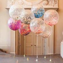 Buy 8pcs 36inch clear balloons+1 pcs ribbon Brithday Party wedding decoration multicolor confetti Helium Thickening Latex balloons for $14.57 in AliExpress store