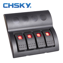 CHSKY 1 Set 4 Gang 12v 24v Red Led Car Marine Boat Rocker Switch Panel Circuit Breakers Overload Protected Car Switch Panel