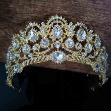 Vintage Big Rhinestone Prom Queen Crowns Crystal Bride Quinceanera Tiaras Bridal Head Jewelry Pageant Wedding Hair Accessories