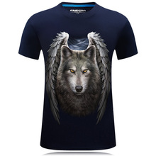 3D T Shirt Animals Men's T-shirts With Short Sleeves 2016 Funny Angel Wing Wolf Print Tee Shirt Casual Free Shipping Big Size