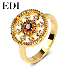 EDI Unique Design Vintage Engagement Ring Antique Garnet Natural Gemstone 925 Sterling Silver Yellow Gold Plated Rings For Women
