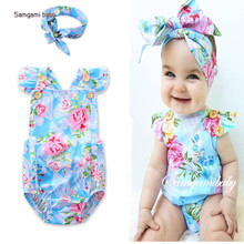 2017 Summer Baby girls rompers set infant clothing ins summer flower butterfly sleeve romper+hair accessory baby 2pcs set 17096