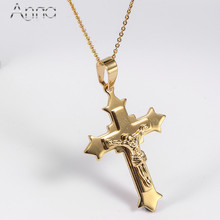A&N Fashion Stainless Steel Solid Gold Jesus Cross Pendant Choker Necklaces Christian Religion Pendants & Necklaces Car Pendants