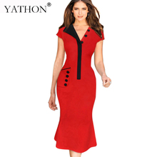YATHON Womens Elegant Puff Sleeve Pocket Button Patchwork Bodycon Evening Party Mermaid Dresses Chic V-Neck Stretch Casual Dress
