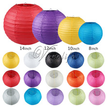 "5Pcs/lot  8"" 10"" 12"" 14"" Chinese Round Paper Lanterns Lamp Birthday Wedding Party Xmas Hanging Gifts Craft Festival Venue Decor"