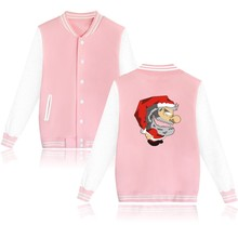 Merry Christmas Santa Claus Winter Warm College Baseball Jacket Women Casual an Autumn Style Girls Coats and Jackets XXS 4XL