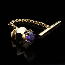 HAWSON Tie Tack Clutch Crystal Tie Tack Pin Jewelry for Men Shirt Accessory Golden Chain Guard Pin Backs Locking(China)