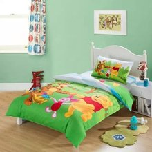 green winnie the pooh friend comforter bedding set single twin size bed duvet covers bedclothes cotton Girls bedroom decor 3-5pc(China)