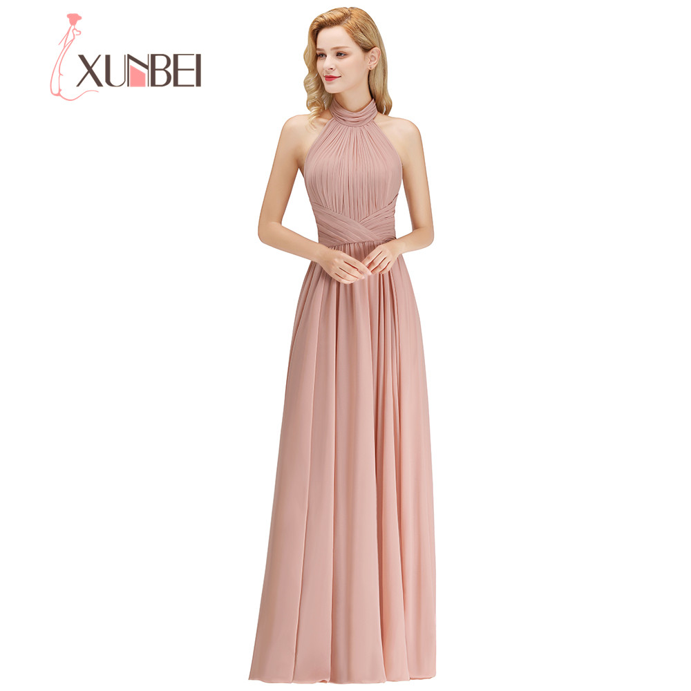 2018 Custom Made 34 Colors Elegant Halter Floor Length Evening Dress Backless Chiffon Party Dress Robe De Soiree Longue