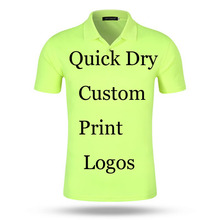 Custom Poloshirt Printing Logo Designs Customized Make Embroidery Print company Office Ad 100% Poly Quick Dry Polos Shirts