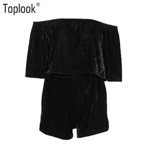 Toplook Black Velvet Track Suit Off Shoulder Sexy 2 Two Piece Half Sleeve Tracksuit Set Runway Robe Women Velour Tops And Shorts(China)