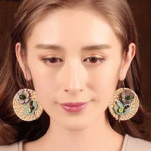 2017 Europe and the United States trend of zinc alloy pendant earrings fashion up to people pearl earrings jewelry female(China)