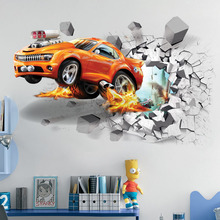 New  Cartoon 3D Through The Brick Pixar Car Wall Sticker For Kids Rooms Children Wall Art DecalS Home Decor Boy's Gift