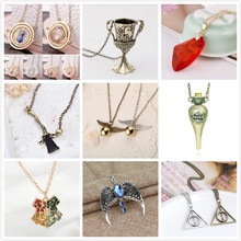 Harry Potter Time Turner Hourglass Necklace Brooms Snitch Hogwarts School Badge philosopher's stone Magic Wand pendant Necklace