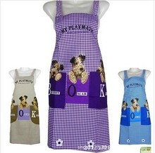 Manufacturers Promotions Korean fashion three cute dog peach plaid gown custom-made double pocket antifouling aprons(China)