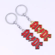 Key Chain AC/DC Band Letter Carving Pendant Car Key Rings Home Decoration Keychain  @M23